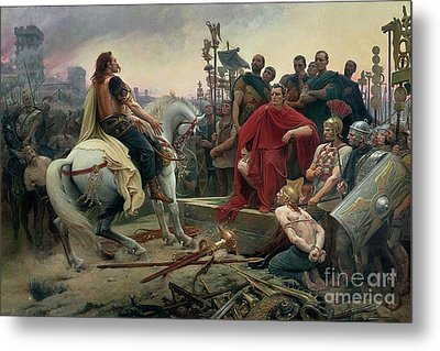 Vercingetorix Throws Down His Arms At The Feet Of Julius Caesar Metal Print by Lionel Noel Royer