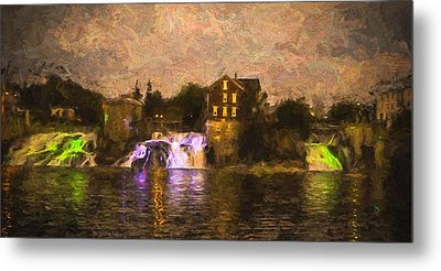 Vergennes Falls Lit Up Metal Print