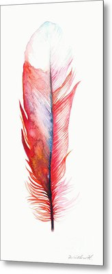 Vermilion Feather Metal Print by Willow Heath