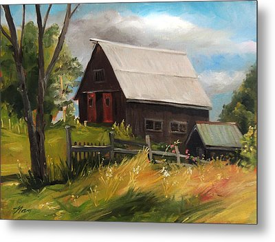 Vermont Barn Metal Print by Nancy Griswold