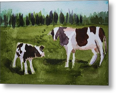 Metal Print featuring the painting Vermont Cow And Calf by Donna Walsh