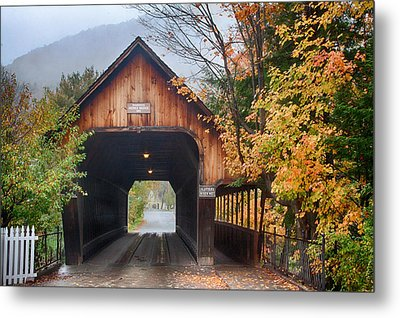 Vermont Fall Colors Over The Middle Bridge Metal Print