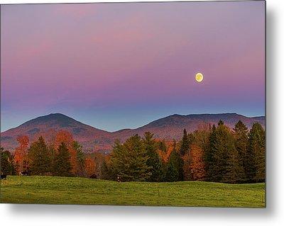 Vermont Fall, Full Moon And Belt Of Venus Metal Print