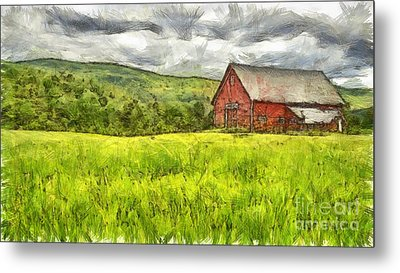 Vermont Farm Landscape Pencil Metal Print by Edward Fielding