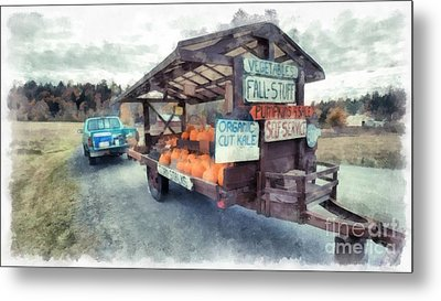 Vermont Farm Stand Metal Print by Edward Fielding