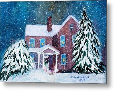 Metal Print featuring the painting Vermont Studio Center In Winter by Donna Walsh