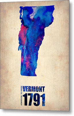 Vermont Watercolor Map Metal Print by Naxart Studio