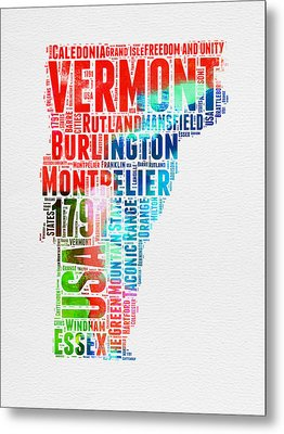 Vermont Watercolor Word Cloud  Metal Print by Naxart Studio