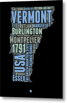Vermont Word Cloud 1 Metal Print by Naxart Studio