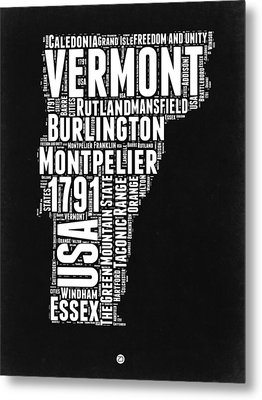 Vermont Word Cloud Black And White Map Metal Print by Naxart Studio
