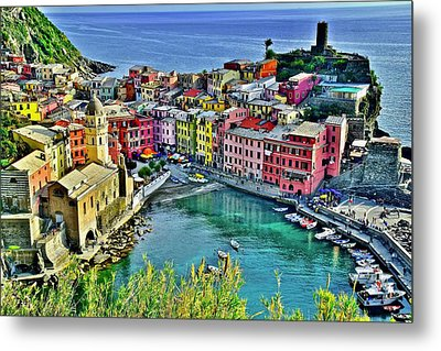 Vernazza Alight Metal Print by Frozen in Time Fine Art Photography
