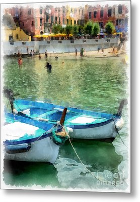 Vernazza Harbor Cinque Terre Italy Metal Print by Edward Fielding