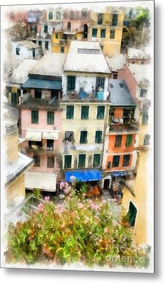 Vernazza Italy In The Cinque Terra Metal Print by Edward Fielding