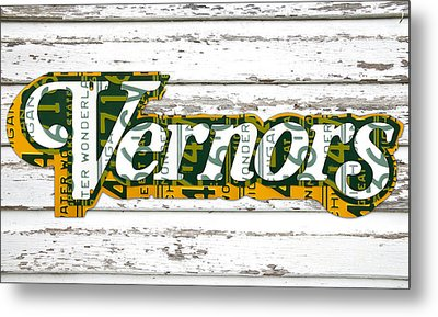 Vernors Beverage Company Recycled Michigan License Plate Art On Old White Barn Wood Metal Print