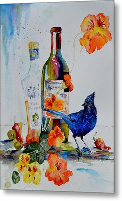 Still Life With Steller's Jay Metal Print by Beverley Harper Tinsley