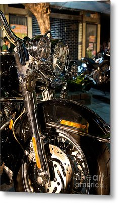 Vertical Front View Of Fat Cruiser Motorcycle With Chrome Fork A Metal Print by Jason Rosette