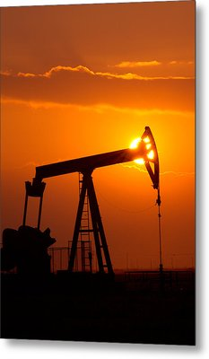 Vertical Oil Rig Sunset Metal Print