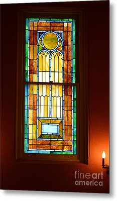 Vertical Stained Glass At The Sixth And I Temple Washington Metal Print by Poet's Eye
