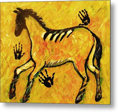 Very Primitive Wild Horse Painting Metal Print