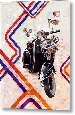 Vespa Mod Scooter Metal Print by Michael Tompsett