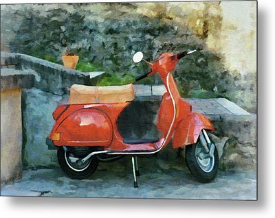 Vespa Parked Metal Print by Jeff Kolker
