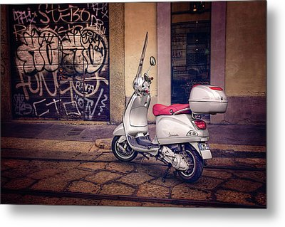 Metal Print featuring the photograph Vespa Scooter In Milan Italy  by Carol Japp