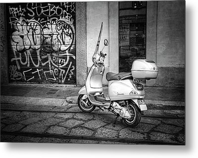 Metal Print featuring the photograph Vespa Scooter In Milan Italy In Black And White  by Carol Japp