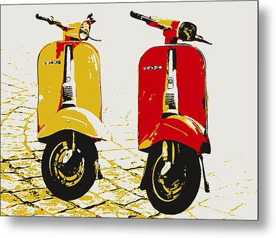 Vespa Scooter Pop Art Metal Print by Michael Tompsett