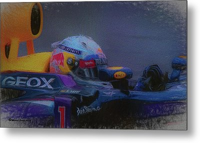 Vettel And Redbull Metal Print