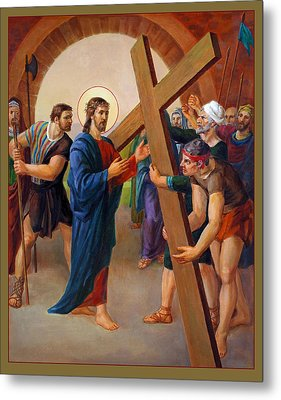 Metal Print featuring the painting Via Dolorosa - Jesus Takes Up His Cross - 2 by Svitozar Nenyuk