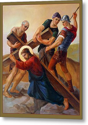 Metal Print featuring the painting Via Dolorosa - Stations Of The Cross - 3 by Svitozar Nenyuk