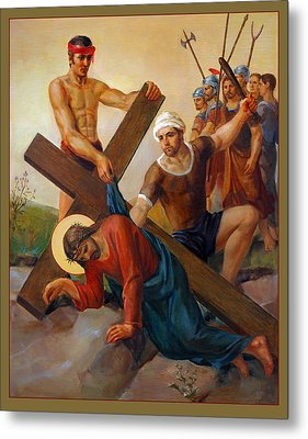 Metal Print featuring the painting Via Dolorosa - The Second Fall Of Jesus - 7 by Svitozar Nenyuk