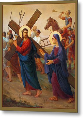 Metal Print featuring the painting Via Dolorosa - The Way Of The Cross - 4 by Svitozar Nenyuk