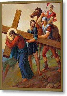 Metal Print featuring the painting Via Dolorosa - Way Of The Cross - 5 by Svitozar Nenyuk