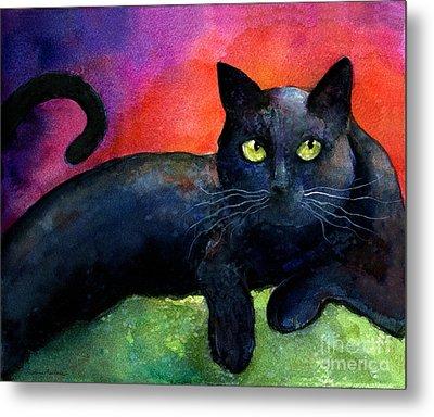 Vibrant Black Cat Watercolor Painting  Metal Print