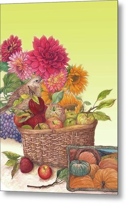 Vibrant Fall Florals And Harvest Metal Print by Judith Cheng