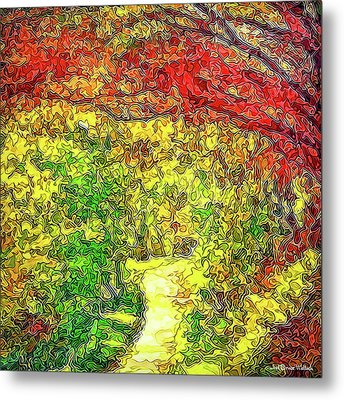 Metal Print featuring the digital art Vibrant Garden Pathway - Santa Monica Mountains Trail by Joel Bruce Wallach