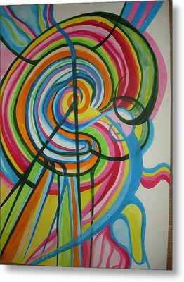 Metal Print featuring the painting Vibrant Spirals by Erika Swartzkopf