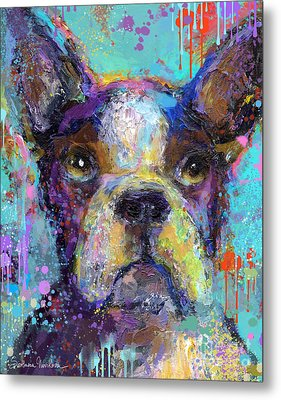 Vibrant Whimsical Boston Terrier Puppy Dog Painting Metal Print