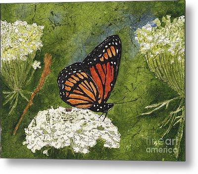 Viceroy Butterfly On Queen Anne's Lace Watercolor Batik Metal Print by Conni Schaftenaar
