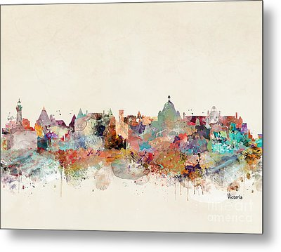 Metal Print featuring the painting Victoria Canada Skyline by Bri B