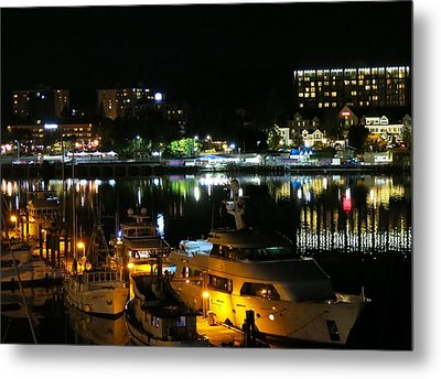Victoria Inner Harbor At Night Metal Print by Betty Buller Whitehead