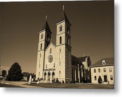 Metal Print featuring the photograph Victoria, Kansas - Cathedral Of The Plains Sepia 6 by Frank Romeo