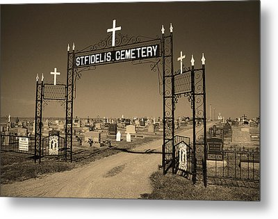 Metal Print featuring the photograph Victoria, Kansas - St. Fidelis Cemetery Sepia by Frank Romeo