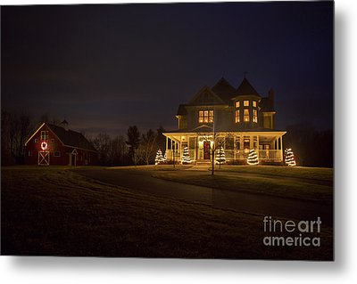 Victorian House At Christmas Metal Print