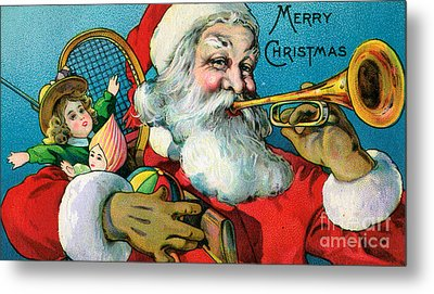 Victorian Illustration Of Santa Claus Holding Toys And Blowing On A Trumpet Metal Print by American School