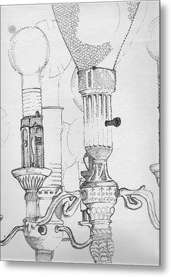 Victorian Lamp Drawing Metal Print by Ron Hayes