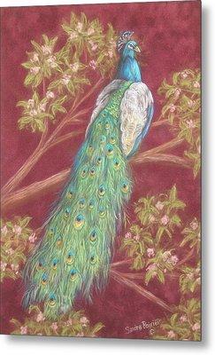 Victorian Peacock Metal Print by Sandra Poirier