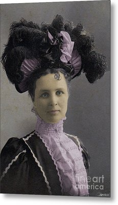 Metal Print featuring the photograph Victorian Women With Big Hat by Lyric Lucas