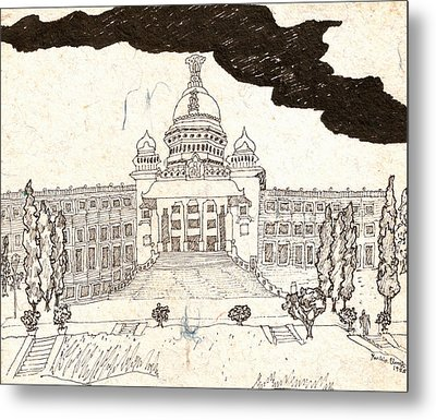 Vidhana Soudha Metal Print by Umesh U V